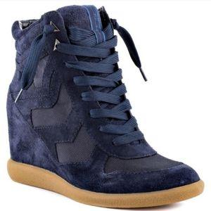 Sam Edelman Bennett Wedge Sneaker Blue Suede 6
